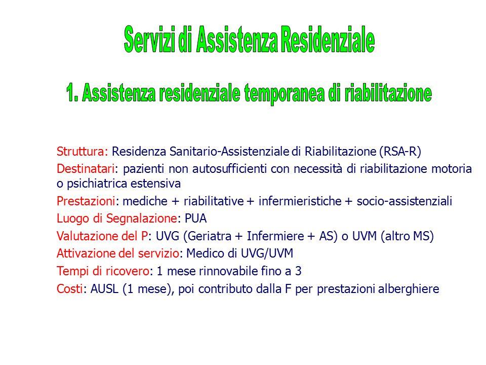 Struttura: Residenza Sanitario-Assistenziale di Riabilitazione (RSA-R) Destinatari: pazienti non autosufficienti con necessità di riabilitazione motor