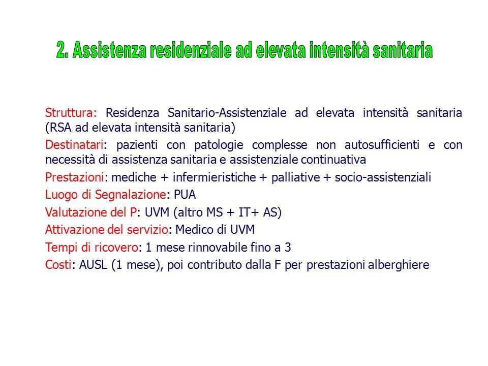 Struttura: Residenza Sanitario-Assistenziale ad elevata intensità sanitaria (RSA ad elevata intensità sanitaria) Destinatari: pazienti con patologie c