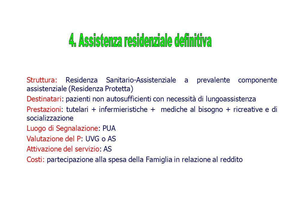 Struttura: Residenza Sanitario-Assistenziale a prevalente componente assistenziale (Residenza Protetta) Destinatari: pazienti non autosufficienti con