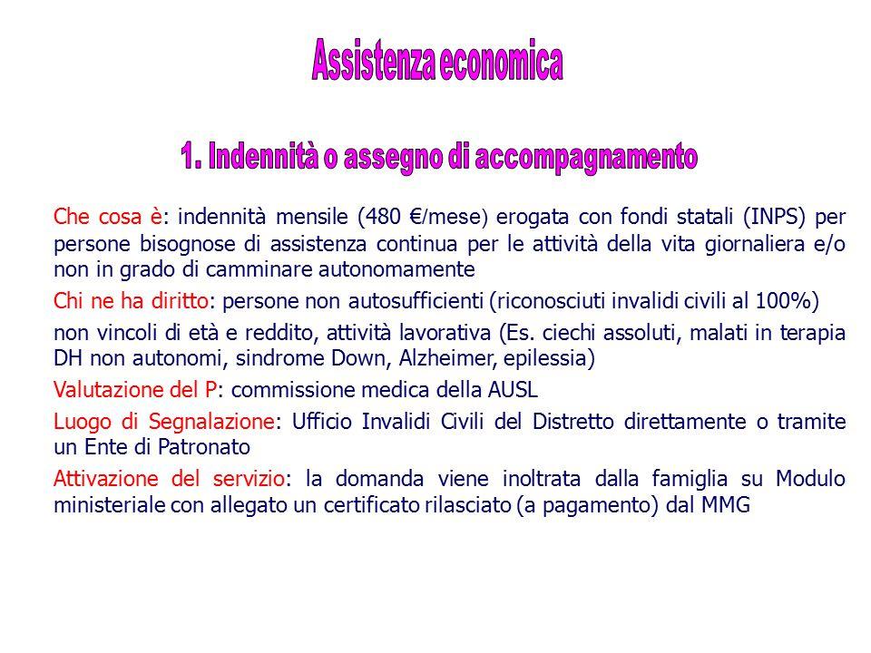 Che cosa è: indennità mensile (480 € /mese) erogata con fondi statali (INPS) per persone bisognose di assistenza continua per le attività della vita g