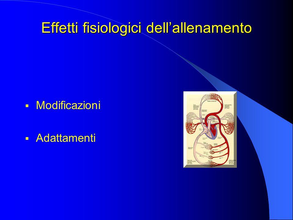 Effetti fisiologici dell'allenamento  Modificazioni  Adattamenti