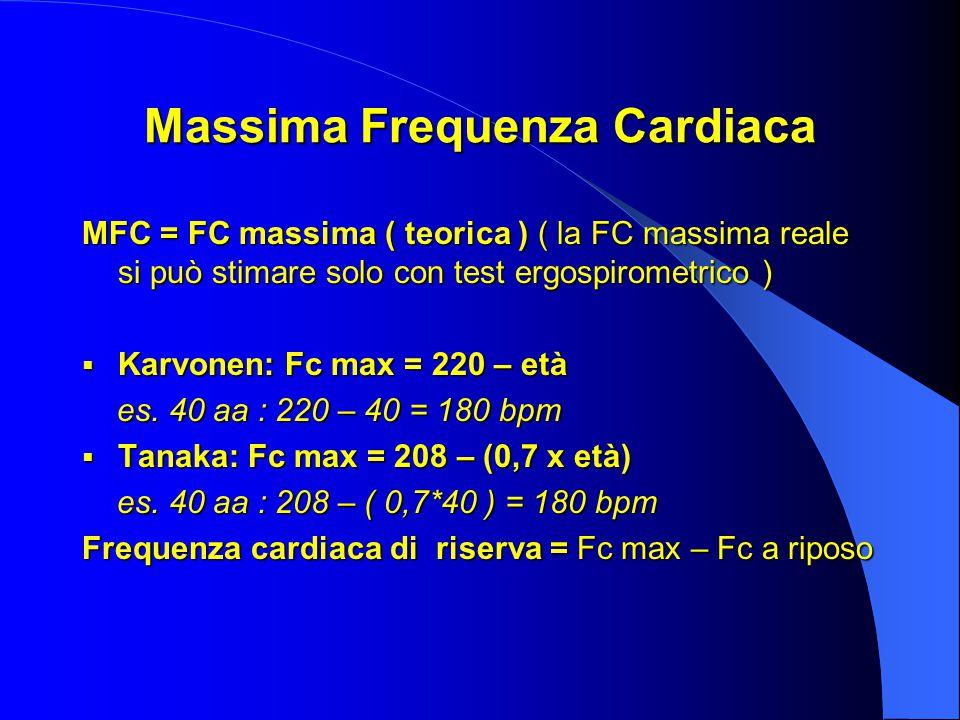 Massima Frequenza Cardiaca MFC = FC massima ( teorica ) ( la FC massima reale si può stimare solo con test ergospirometrico )  Karvonen: Fc max = 220 – età es.