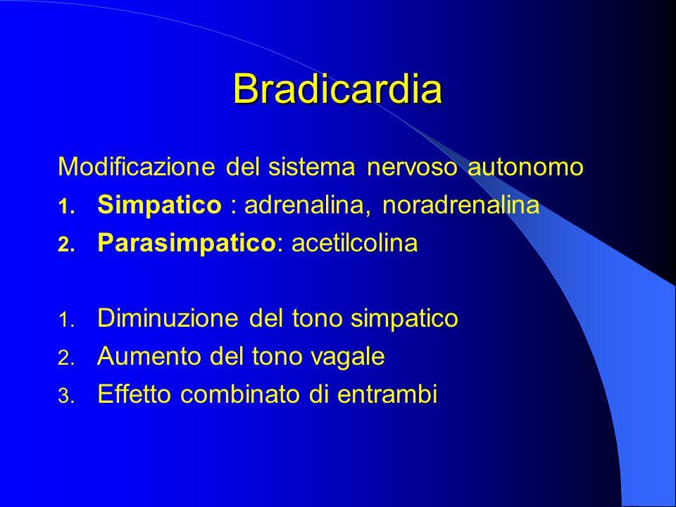 Bradicardia Modificazione del sistema nervoso autonomo 1.