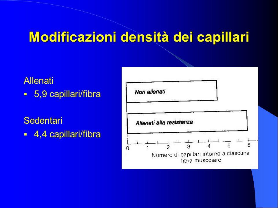 Modificazioni densità dei capillari Allenati  5,9 capillari/fibra Sedentari  4,4 capillari/fibra