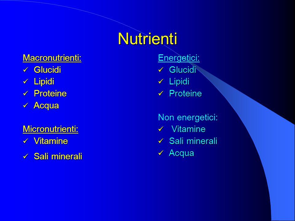Macronutrienti: Glucidi Glucidi Lipidi Lipidi Proteine Proteine Acqua AcquaMicronutrienti: Vitamine Vitamine Sali minerali Sali minerali Energetici: Glucidi Glucidi Lipidi Lipidi Proteine Proteine Non energetici: Vitamine Vitamine Sali minerali Sali minerali Acqua Acqua Nutrienti