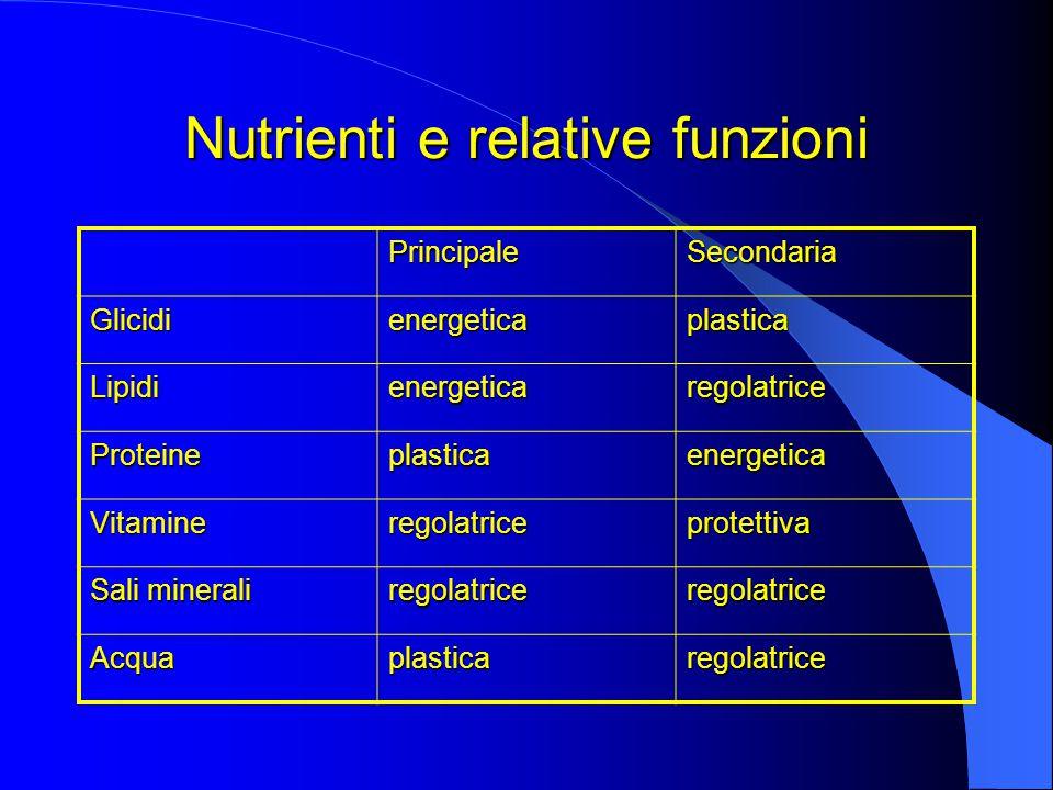 Nutrienti e relative funzioni PrincipaleSecondaria Glicidienergeticaplastica Lipidienergeticaregolatrice Proteineplasticaenergetica Vitamineregolatriceprotettiva Sali minerali regolatriceregolatrice Acquaplasticaregolatrice