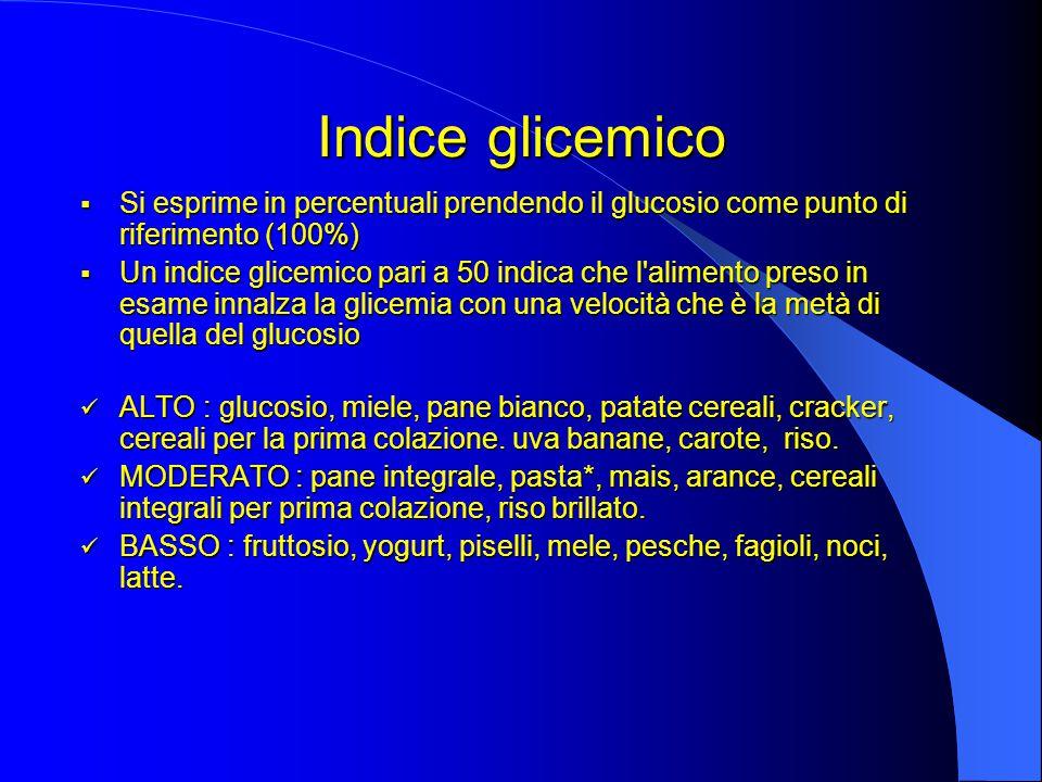 Indice glicemico  Si esprime in percentuali prendendo il glucosio come punto di riferimento (100%)  Un indice glicemico pari a 50 indica che l alimento preso in esame innalza la glicemia con una velocità che è la metà di quella del glucosio ALTO : glucosio, miele, pane bianco, patate cereali, cracker, cereali per la prima colazione.