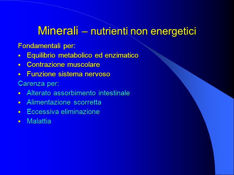 Minerali – nutrienti non energetici Fondamentali per:  Equilibrio metabolico ed enzimatico  Contrazione muscolare  Funzione sistema nervoso Carenza per:  Alterato assorbimento intestinale  Alimentazione scorretta  Eccessiva eliminazione  Malattia