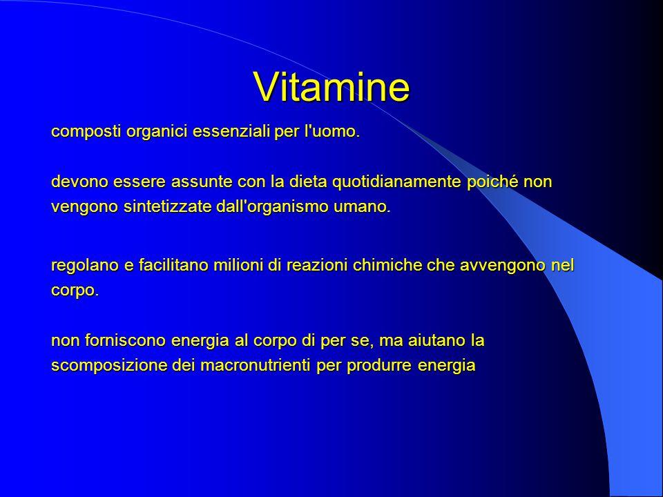 Vitamine composti organici essenziali per l uomo.