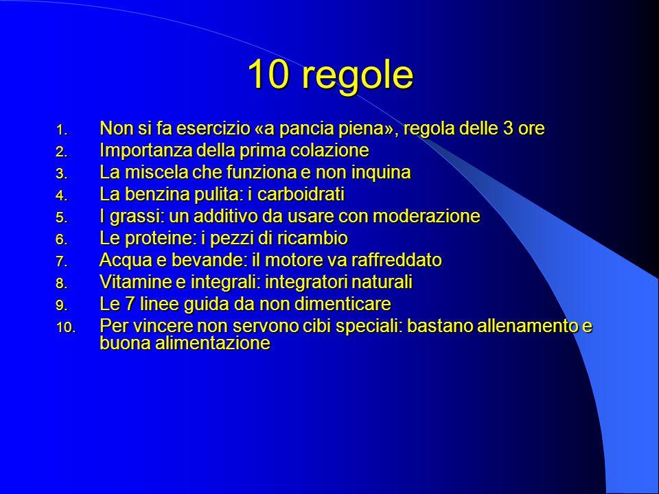 10 regole 1.Non si fa esercizio «a pancia piena», regola delle 3 ore 2.