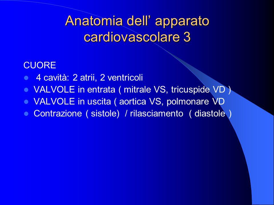 Anatomia dell' apparato cardiovascolare 3 CUORE 4 cavità: 2 atrii, 2 ventricoli VALVOLE in entrata ( mitrale VS, tricuspide VD ) VALVOLE in uscita ( aortica VS, polmonare VD Contrazione ( sistole) / rilasciamento ( diastole )