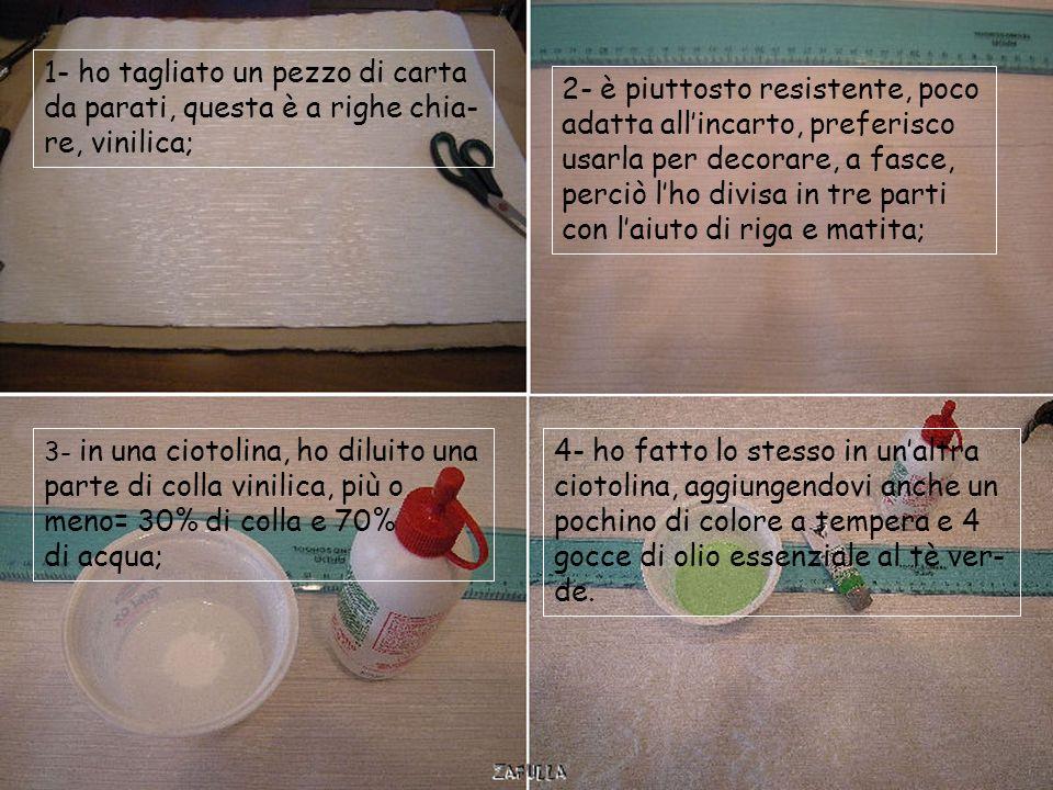 Occorrente: Tovaglioli di carta a due o tre veli non importa, carta da parati, o da pacchi bianca o avana, ma anche la carta del pane, ecc; colla vini