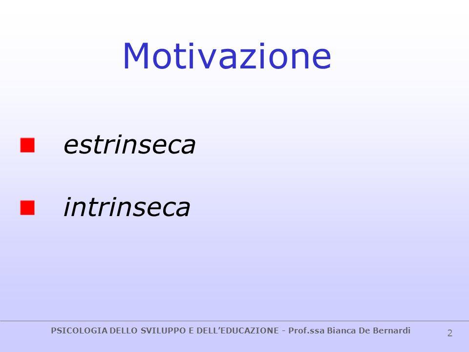 PSICOLOGIA DELLO SVILUPPO E DELL'EDUCAZIONE - Prof.ssa Bianca De Bernardi 3 Motivazione incentrata sul rinforzo estrinseco sul compito sull'io