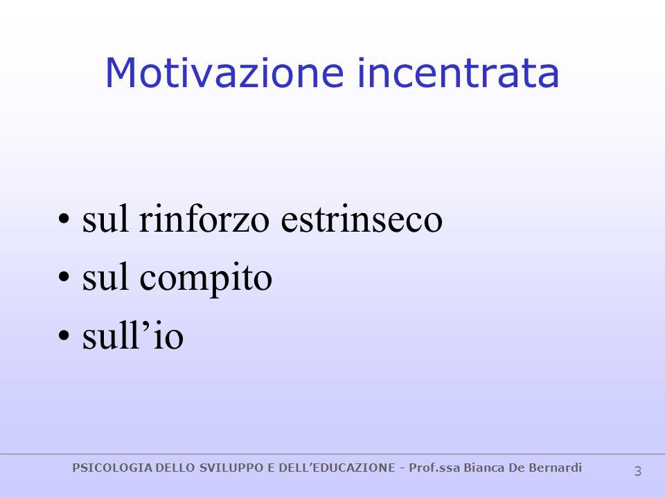 PSICOLOGIA DELLO SVILUPPO E DELL'EDUCAZIONE - Prof.ssa Bianca De Bernardi 4 Orientamento motivazionale Pattern di fattori cognitivi e affettivi che influenzano l'inizio e il mantenimento dello sforzo rivolto ad un obiettivo