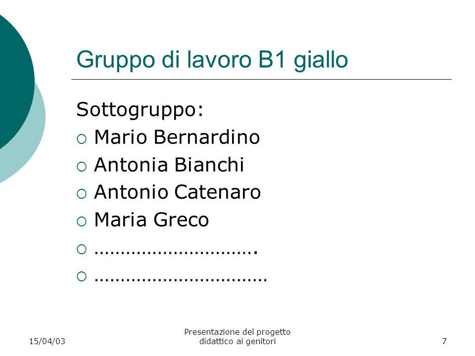 15/04/03 Presentazione del progetto didattico ai genitori7 Gruppo di lavoro B1 giallo Sottogruppo:  Mario Bernardino  Antonia Bianchi  Antonio Cate