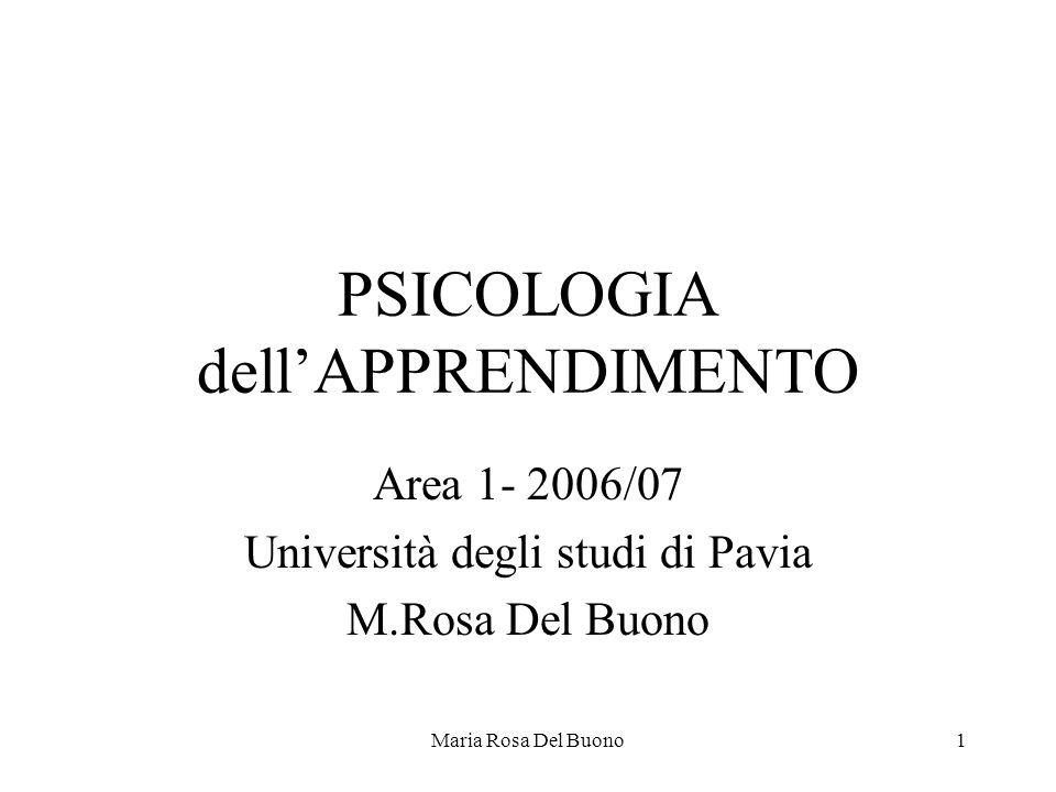 Maria Rosa Del Buono1 PSICOLOGIA dell'APPRENDIMENTO Area 1- 2006/07 Università degli studi di Pavia M.Rosa Del Buono