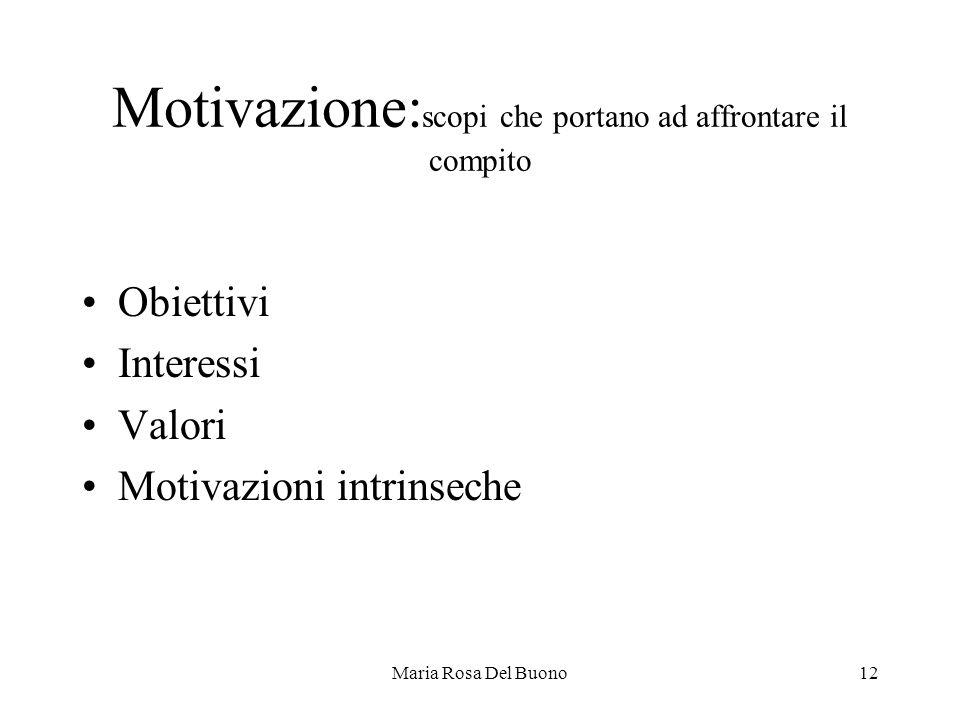 Maria Rosa Del Buono12 Motivazione: scopi che portano ad affrontare il compito Obiettivi Interessi Valori Motivazioni intrinseche