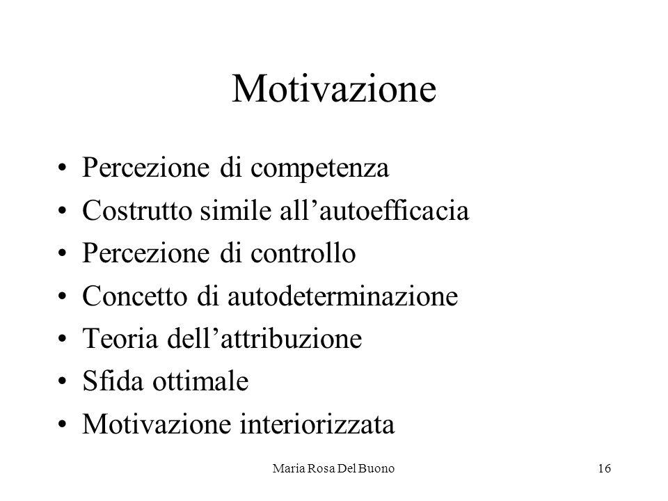 Maria Rosa Del Buono16 Motivazione Percezione di competenza Costrutto simile all'autoefficacia Percezione di controllo Concetto di autodeterminazione Teoria dell'attribuzione Sfida ottimale Motivazione interiorizzata