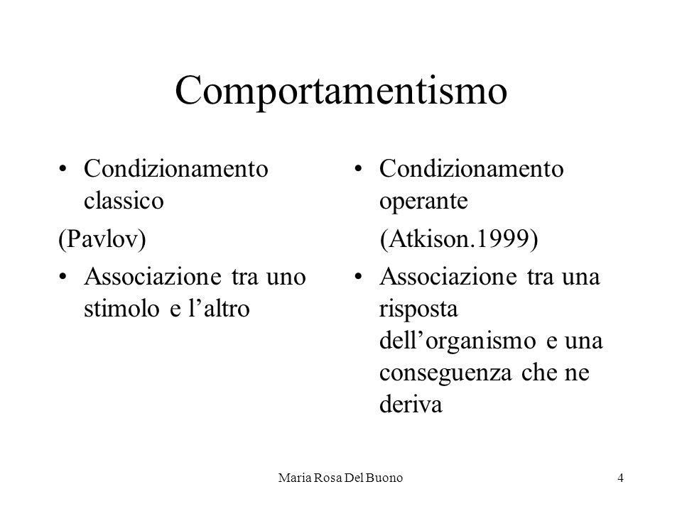 Maria Rosa Del Buono4 Comportamentismo Condizionamento classico (Pavlov) Associazione tra uno stimolo e l'altro Condizionamento operante (Atkison.1999) Associazione tra una risposta dell'organismo e una conseguenza che ne deriva