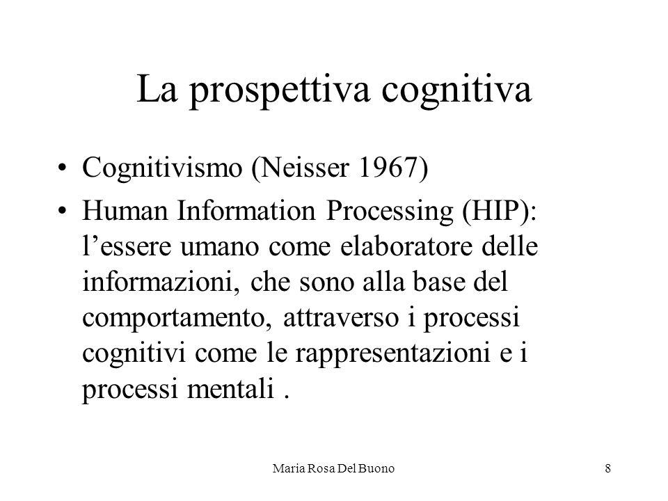 Maria Rosa Del Buono8 La prospettiva cognitiva Cognitivismo (Neisser 1967) Human Information Processing (HIP): l'essere umano come elaboratore delle informazioni, che sono alla base del comportamento, attraverso i processi cognitivi come le rappresentazioni e i processi mentali.