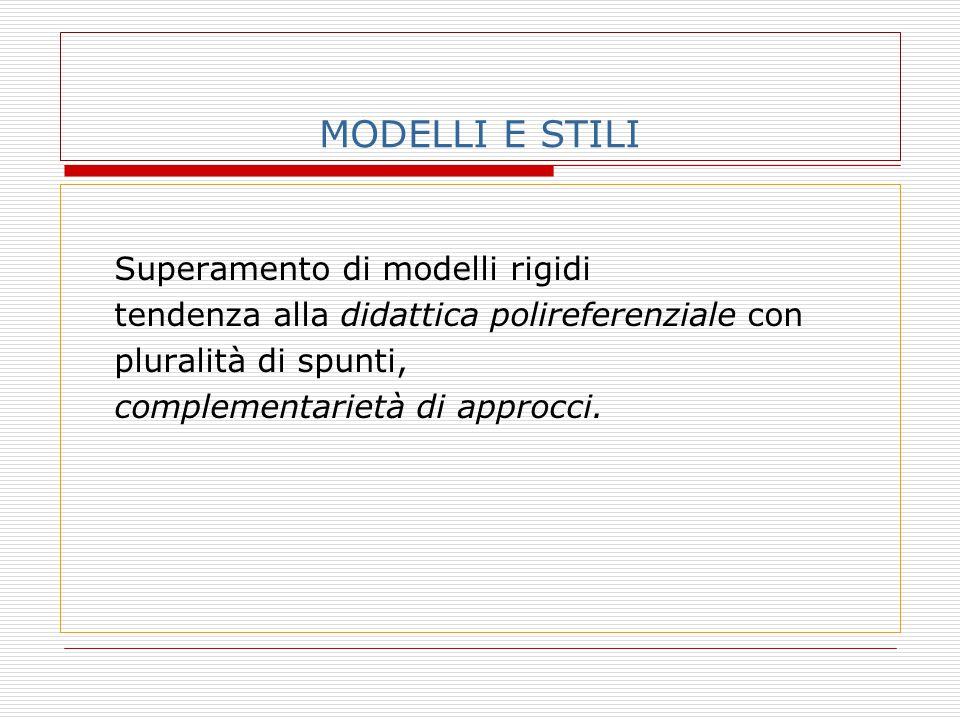 MODELLI E STILI Superamento di modelli rigidi tendenza alla didattica polireferenziale con pluralità di spunti, complementarietà di approcci.