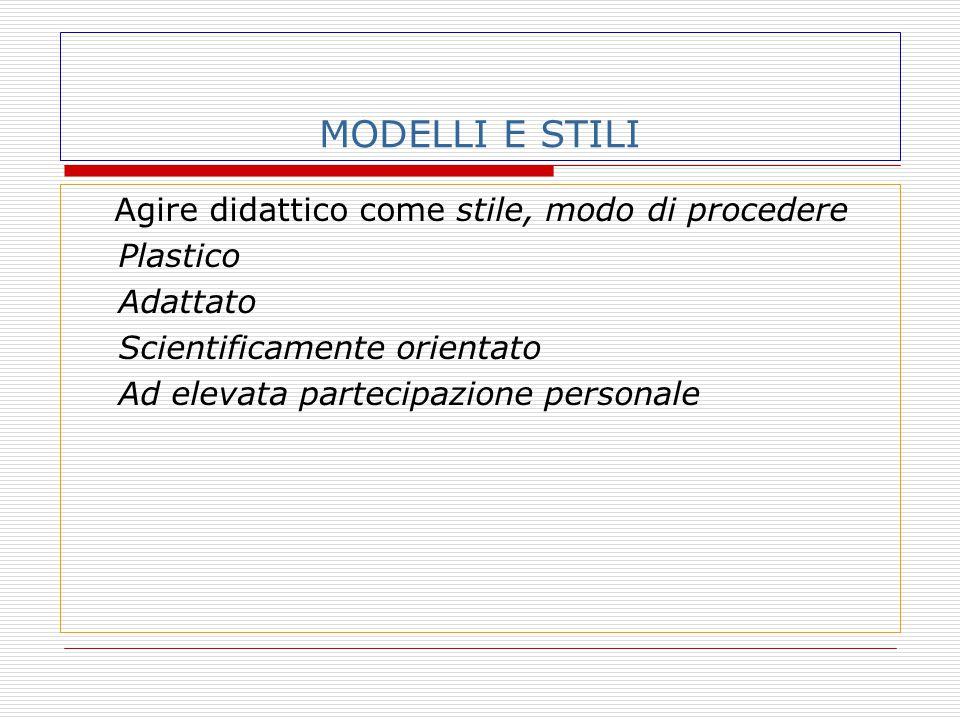 MODELLI E STILI Agire didattico come stile, modo di procedere Plastico Adattato Scientificamente orientato Ad elevata partecipazione personale