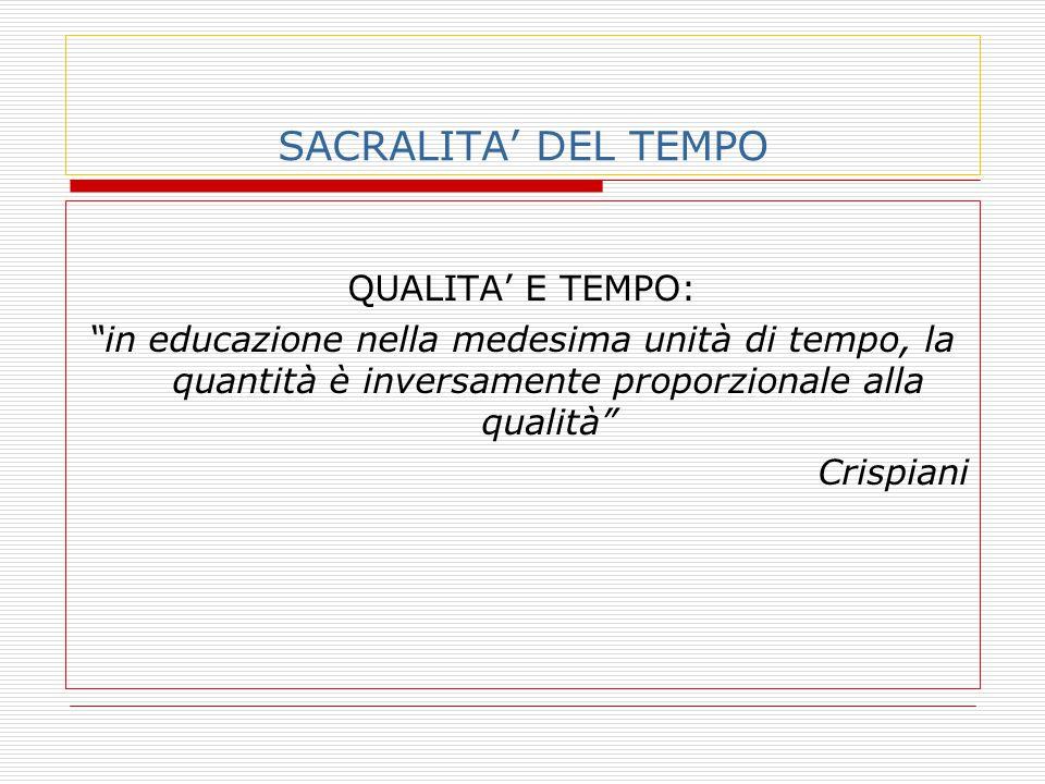 SACRALITA' DEL TEMPO QUALITA' E TEMPO: in educazione nella medesima unità di tempo, la quantità è inversamente proporzionale alla qualità Crispiani