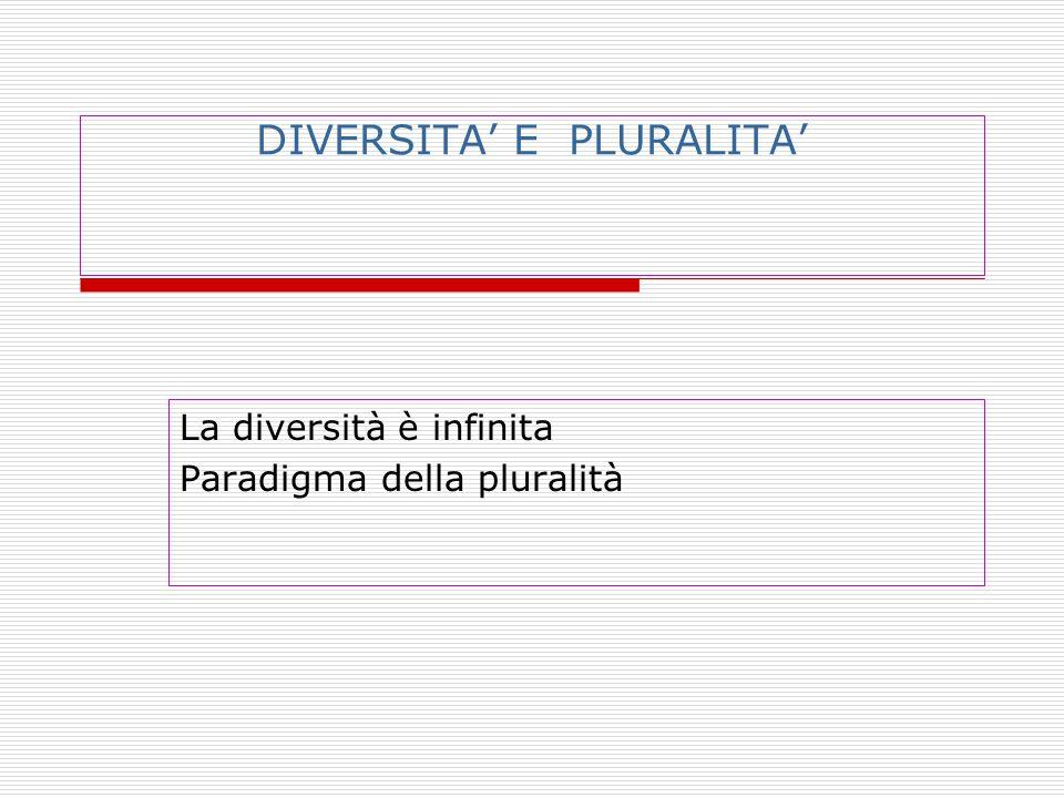 DIVERSITA' E PLURALITA' La diversità è infinita Paradigma della pluralità