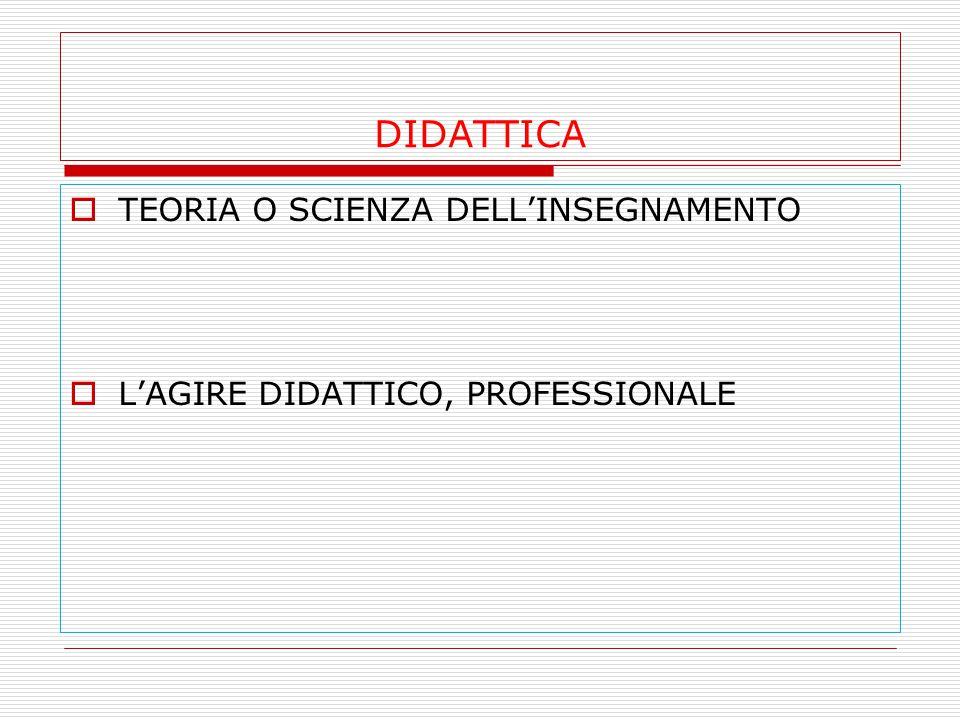 DIDATTICA  TEORIA O SCIENZA DELL'INSEGNAMENTO  L'AGIRE DIDATTICO, PROFESSIONALE