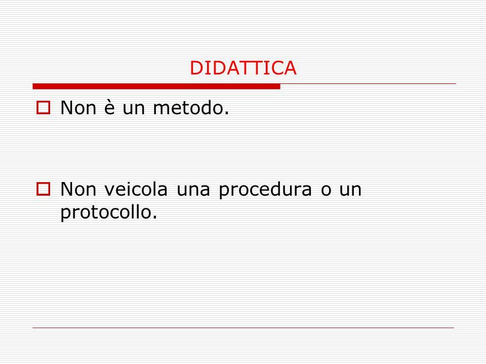 DIDATTICA  Non è un metodo.  Non veicola una procedura o un protocollo.