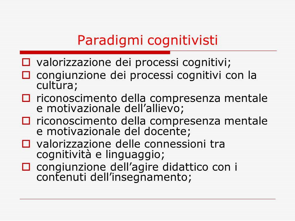 Paradigmi cognitivisti  valorizzazione dei processi cognitivi;  congiunzione dei processi cognitivi con la cultura;  riconoscimento della compresenza mentale e motivazionale dell'allievo;  riconoscimento della compresenza mentale e motivazionale del docente;  valorizzazione delle connessioni tra cognitività e linguaggio;  congiunzione dell'agire didattico con i contenuti dell'insegnamento;