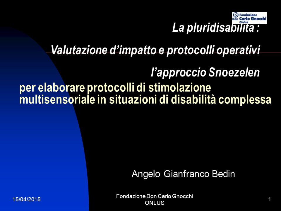 15/04/2015 Fondazione Don Carlo Gnocchi ONLUS 2 IL PROTOCOLLO OSSERVAZIONE DELLE CINQUE MACRODIMENSIONI 1.