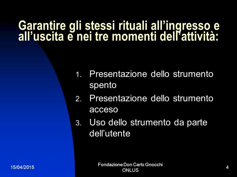 15/04/2015 Fondazione Don Carlo Gnocchi ONLUS 4 Garantire gli stessi rituali all'ingresso e all'uscita e nei tre momenti dell'attività: 1.