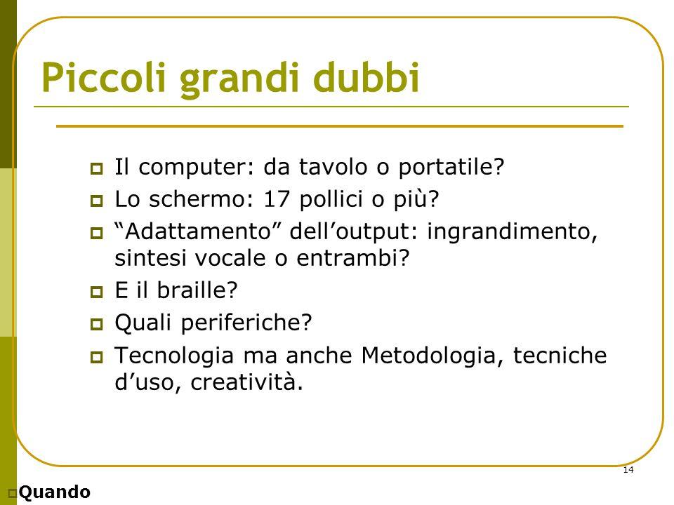 """14 Piccoli grandi dubbi  Il computer: da tavolo o portatile?  Lo schermo: 17 pollici o più?  """"Adattamento"""" dell'output: ingrandimento, sintesi voca"""