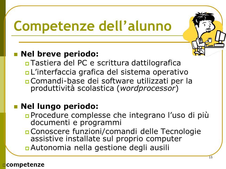 15 Competenze dell'alunno Nel breve periodo:  Tastiera del PC e scrittura dattilografica  L'interfaccia grafica del sistema operativo  Comandi-base