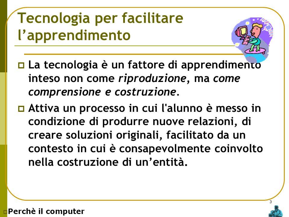 3 Tecnologia per facilitare l'apprendimento  La tecnologia è un fattore di apprendimento inteso non come riproduzione, ma come comprensione e costruz