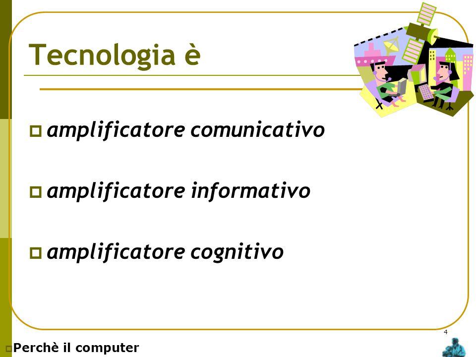4 Tecnologia è  amplificatore comunicativo  amplificatore informativo  amplificatore cognitivo  Perchè il computer