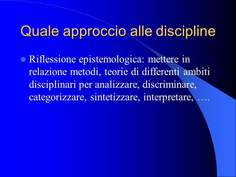Quale approccio alle discipline Riflessione epistemologica: mettere in relazione metodi, teorie di differenti ambiti disciplinari per analizzare, discriminare, categorizzare, sintetizzare, interpretare, ….