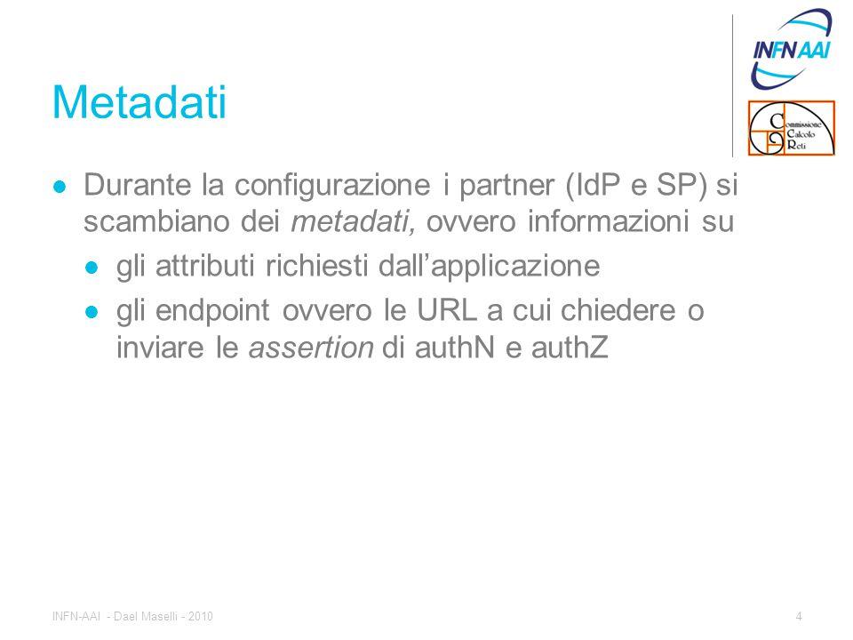 Funzionamento Quando l'utente, tramite browser, accede alla risorsa, la libreria SP manda al client un redirect http verso l'IdP con i dati (in POST) della richiesta di autenticazione L'IdP richiede l'autenticazione all'utente attraverso una form web o simile Se l'utente è correttamente autenticato l'IdP raccoglie gli attributi relativi e manda un redirect verso il SP con in POST l'assertion XML contenente gli attributi richiesti 5INFN-AAI - Dael Maselli - 2010