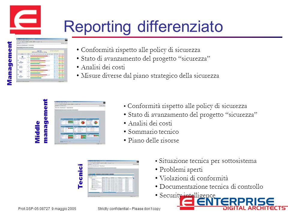 Prot.GSP-05:08727 9 maggio 2005Strictly confidential – Please don't copy Reporting differenziato Management Conformità rispetto alle policy di sicurez