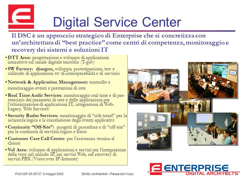 Prot.GSP-05:08727 9 maggio 2005Strictly confidential – Please don't copy Digital Service Center Il DSC è un approccio strategico di Enterprise che si