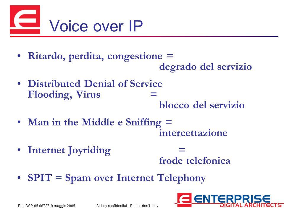 Prot.GSP-05:08727 9 maggio 2005Strictly confidential – Please don't copy Voice over IP Ritardo, perdita, congestione = degrado del servizio Distribute