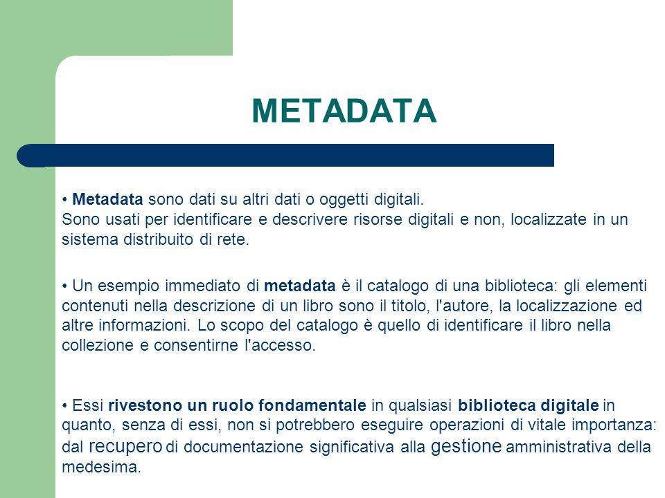 METADATA Metadata sono dati su altri dati o oggetti digitali.