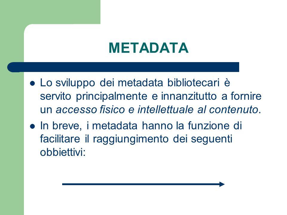 - SEARCHING, ovvero individuare l'esistenza di un documento; (Identificazione) - LOCATION, ovvero recuperare (Localizazzione) una particolare manifestazione del documento - SELECTION, ovvero analizzare, valutare e filtrare (Selezione) una serie di documenti; - SEMANTIC INTEROPERABILITY, ovvero permettere la ricerca in ambiti (Interoperabilità) disciplinari diversi; - AVAILABILITY, ovvero ottenere informazioni sulla effettiva disponibilità (Disponibilità) del documento; OBIETTIVI