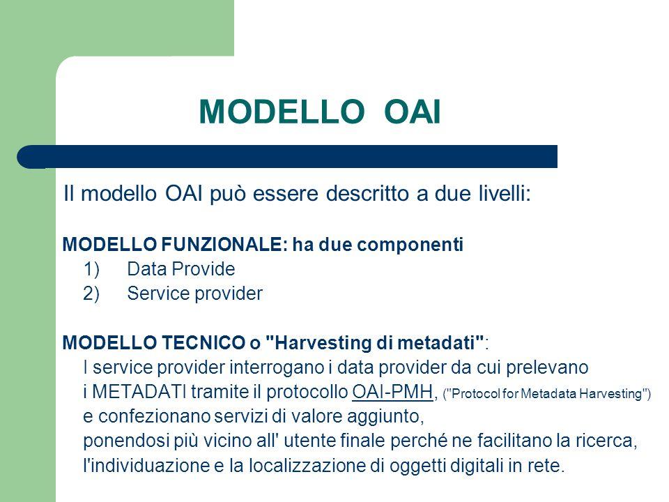 MODELLO OAI Il modello OAI può essere descritto a due livelli: MODELLO FUNZIONALE: ha due componenti 1) Data Provide 2) Service provider MODELLO TECNICO o Harvesting di metadati : I service provider interrogano i data provider da cui prelevano i METADATI tramite il protocollo OAI-PMH, ( Protocol for Metadata Harvesting )OAI-PMH e confezionano servizi di valore aggiunto, ponendosi più vicino all utente finale perché ne facilitano la ricerca, l individuazione e la localizzazione di oggetti digitali in rete.
