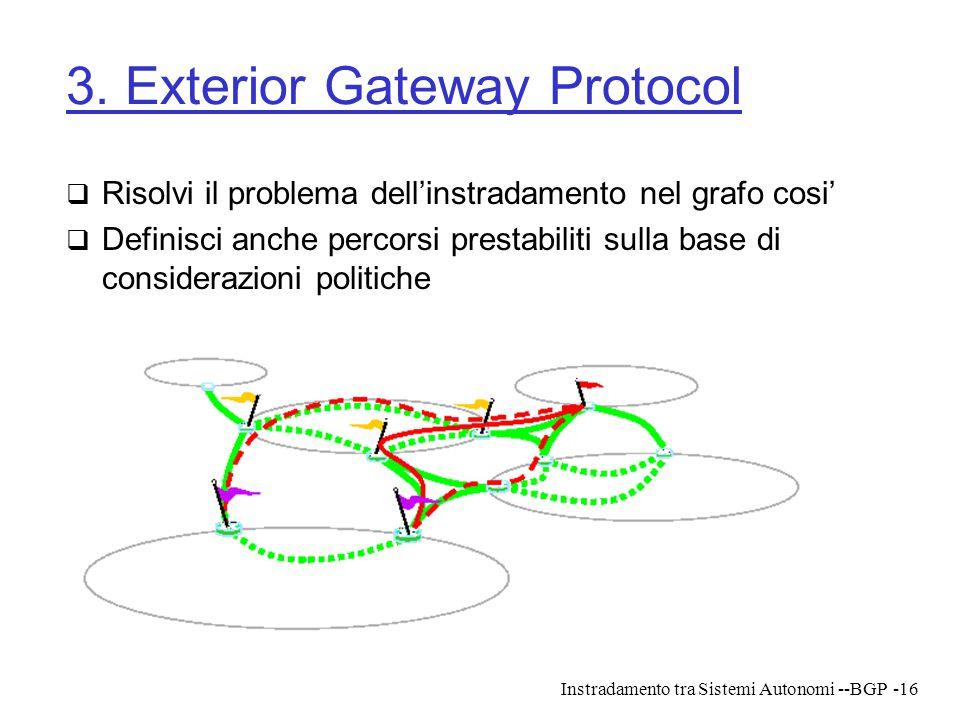 Instradamento tra Sistemi Autonomi --BGP-16 3. Exterior Gateway Protocol  Risolvi il problema dell'instradamento nel grafo cosi'  Definisci anche pe