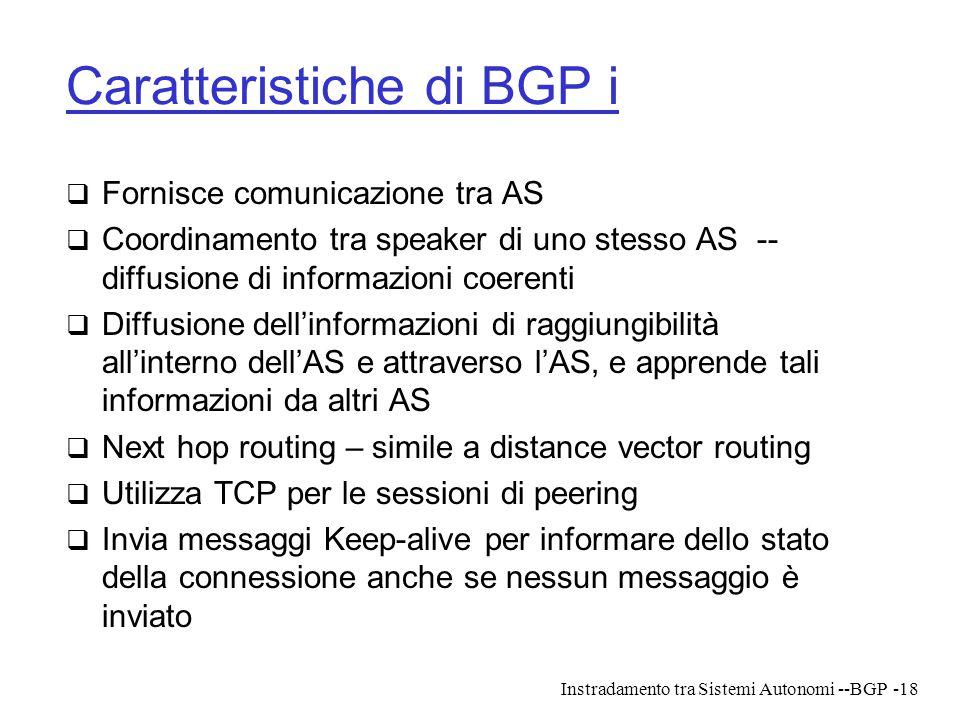 Instradamento tra Sistemi Autonomi --BGP-18 Caratteristiche di BGP i  Fornisce comunicazione tra AS  Coordinamento tra speaker di uno stesso AS -- d