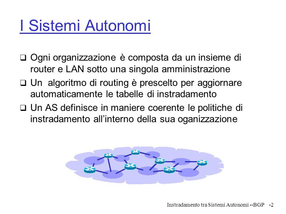 Instradamento tra Sistemi Autonomi --BGP-3 L'interconnessione di Sistemi Autonomi  Quando più organizzazioni si uniscono per formare una Inter-rete, occorre stabilire tra loro punti di collegamento  Le reti che vengono aggiunte sono dette punti di demarcazione