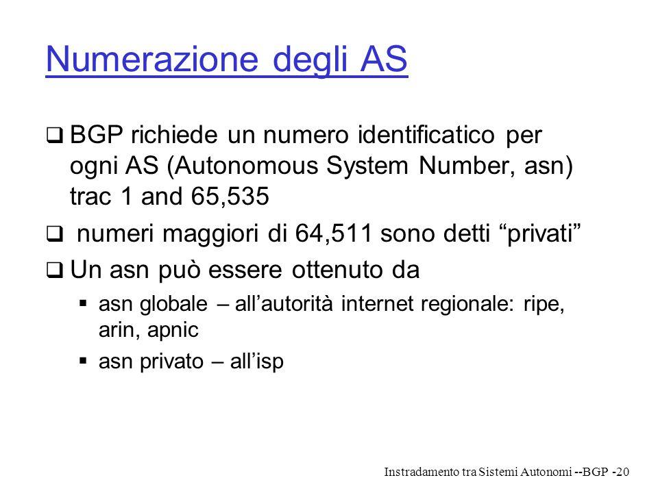 Instradamento tra Sistemi Autonomi --BGP-20 Numerazione degli AS  BGP richiede un numero identificatico per ogni AS (Autonomous System Number, asn) t