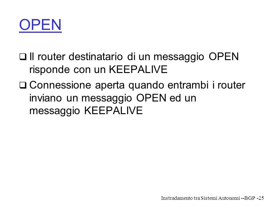 Instradamento tra Sistemi Autonomi --BGP-25 OPEN  Il router destinatario di un messaggio OPEN risponde con un KEEPALIVE  Connessione aperta quando e